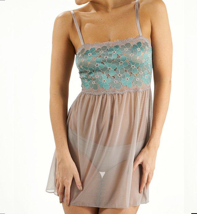 Charming flowers babydoll in nude 1