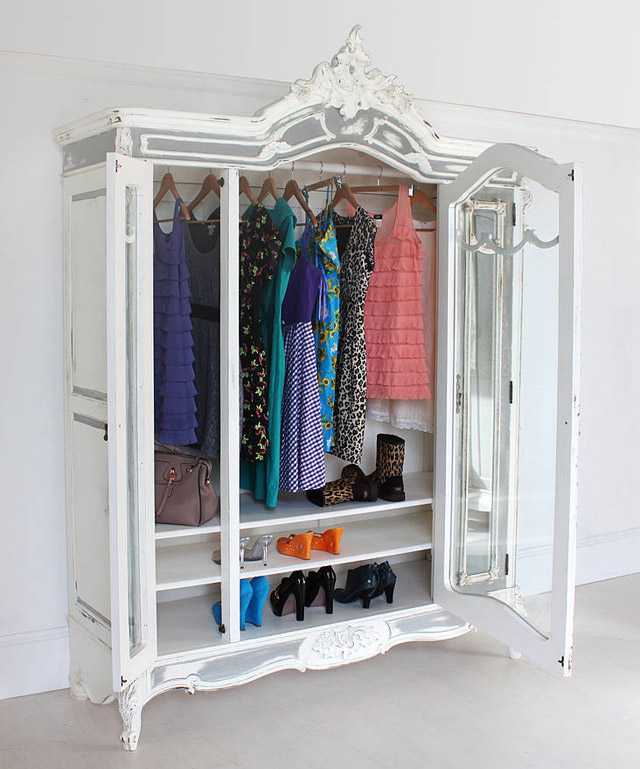 Large glass fronted french armoire