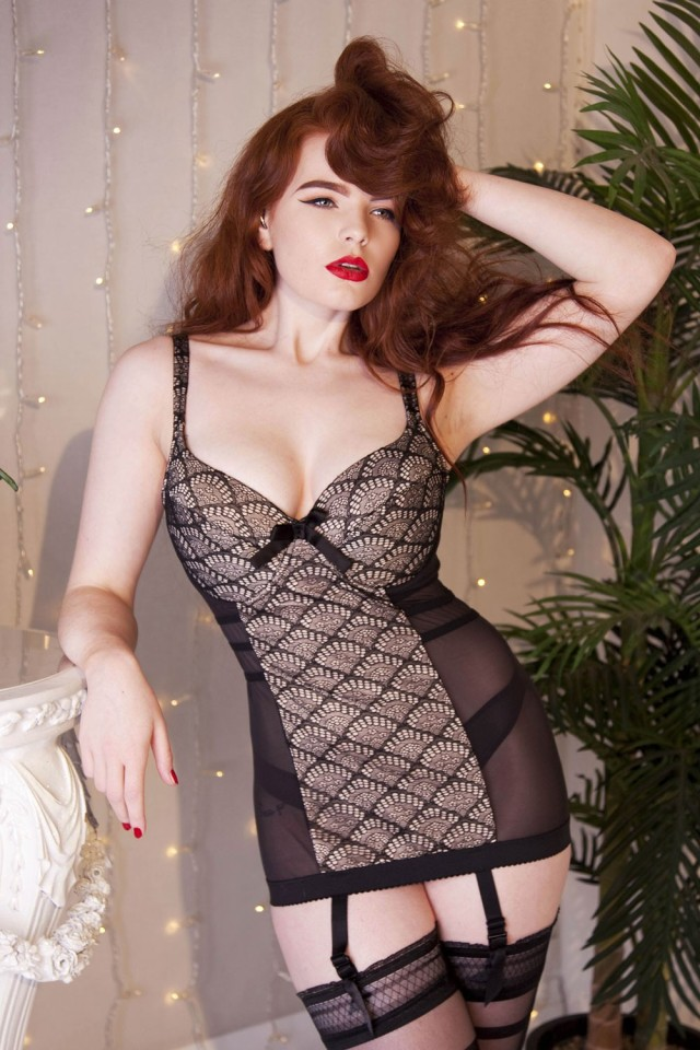 Brigitte Fan Lace Corsolette by Playful Promises