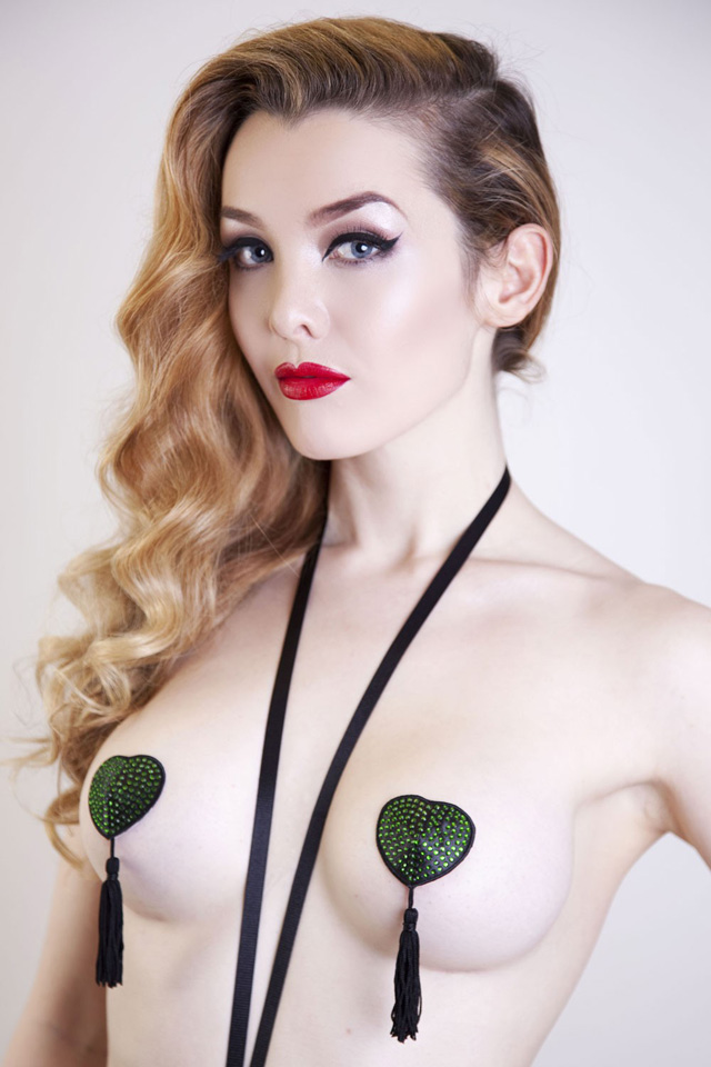 Frida Nipple Tassels - Black with Green Stones by Playful Promises