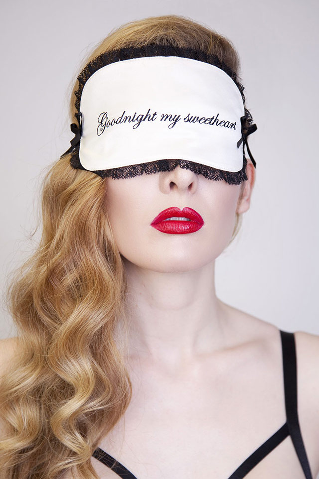 Good Night My Sweetheart Ivory and Black Eye Mask by Playful Promises