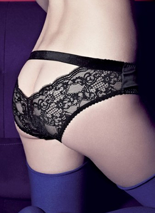 Black Les Extravangantes Open Back Briefs by Les Jupons de Tess