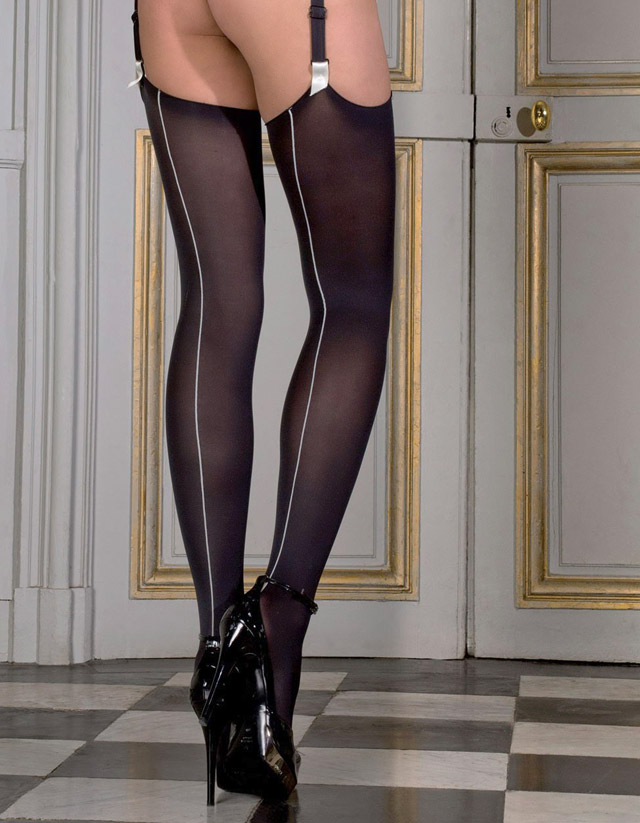 Opaque Back Seamed & Curled Stockings by Maison Close